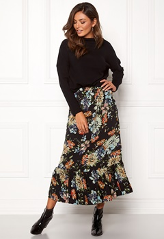 Sisters Point Vota Skirt 001 Black/Flower Bubbleroom.no