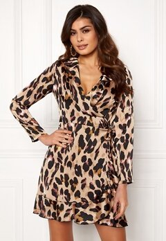 John Zack Wrap Frill Mini Dress Leopard Bubbleroom.no