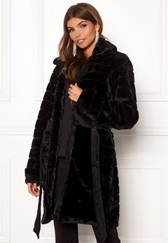 Y.A.S Asala Faux Fur Coat Black Bubbleroom.no
