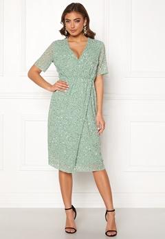 Y.A.S Beado Sequin S/S Dress Granite Green Bubbleroom.no