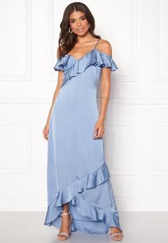 Y.A.S Fielle Off Shoulder Maxi Dress Delia Robbia Blue Bubbleroom.no