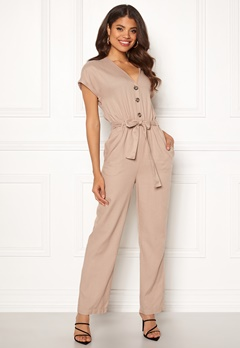 Y.A.S Gianna SS Jumpsuit Oxford Tan Bubbleroom.no