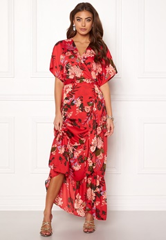 Y.A.S Jungle S/S Maxi Dress High Risk Red Bubbleroom.no
