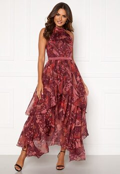 Y.A.S Natalie Maxi Dress Russet Brown, AOP Bubbleroom.no