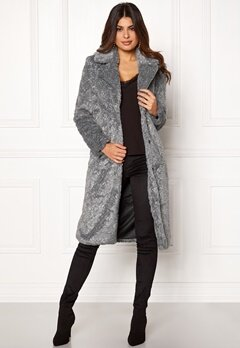 Y.A.S Pala Faux Fur Coat Dark Grey Melange Bubbleroom.no