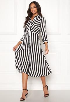 Y.A.S Savanna SS Midi Dress Star White, Stripes Bubbleroom.no