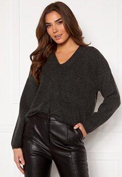 Y.A.S Sellis LS Knit Pullover Dark Grey Melange Bubbleroom.no