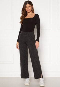 Y.A.S Sellis MW Knit Pant Dark Grey Melange Bubbleroom.no