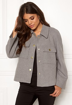 Y.A.S Zoe Wool Jacket Light Grey Melange Bubbleroom.no