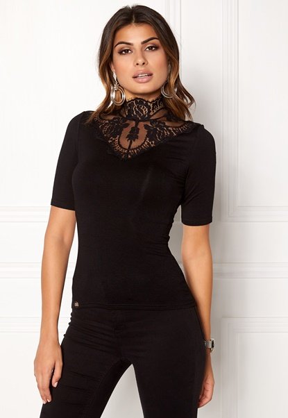 Chiara Forthi Intrend scallop highneck top Black Bubbleroom.no