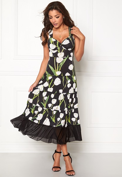 Chiara Forthi Alberta Tulip Dress Black / Floral Bubbleroom.no