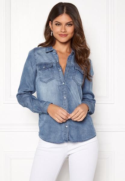 VILA Bista Denim Shirt Medium Blue Denim Bubbleroom.no