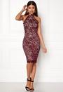 High Neck Lace Midi Dress