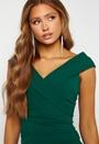 Bardot Pleat Maxi Split Dress