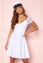 Short Sleeve Lace Trim Skater Dress