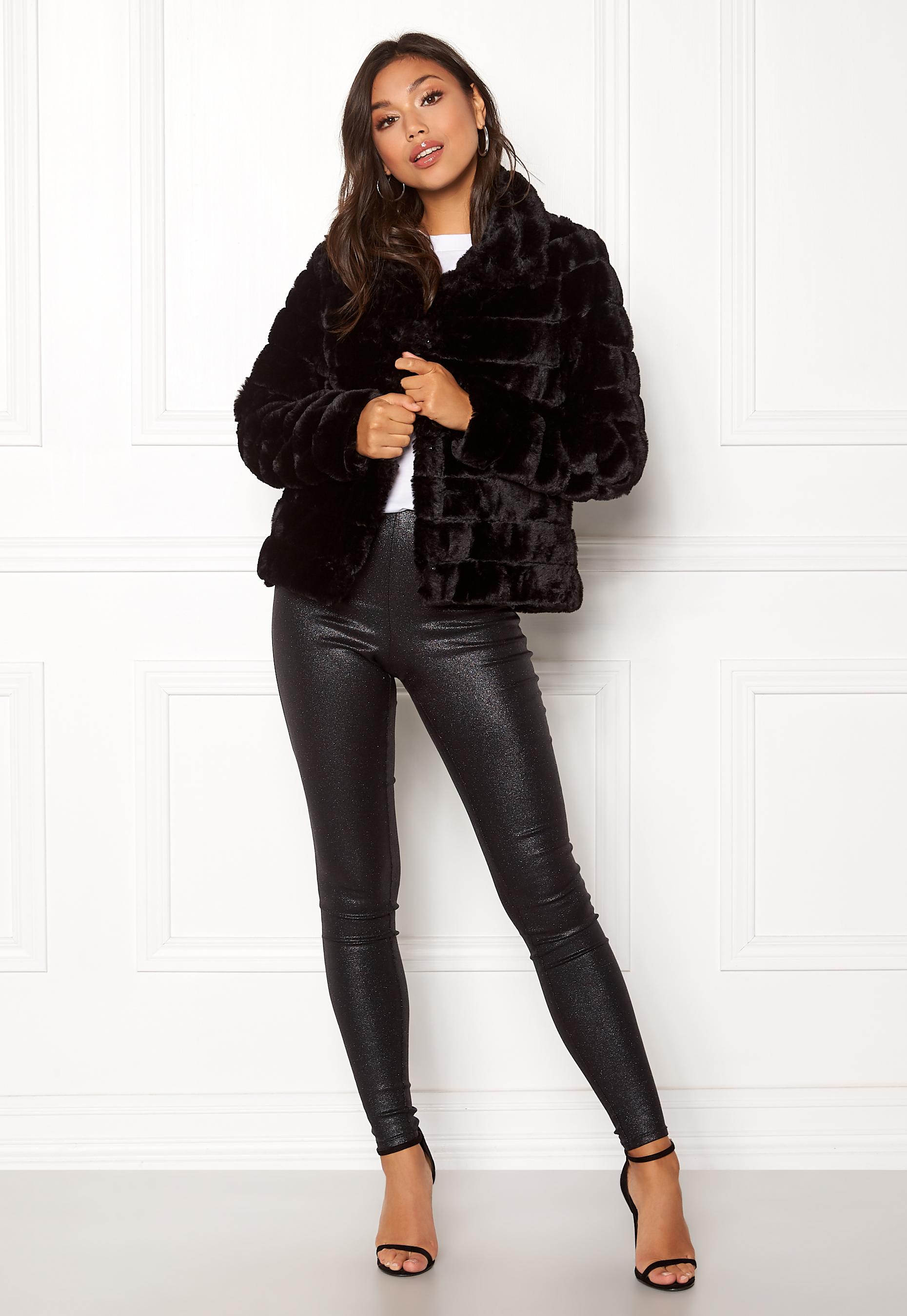 1174fe50 VILA Farry Faux Fur Jacket Black - Bubbleroom