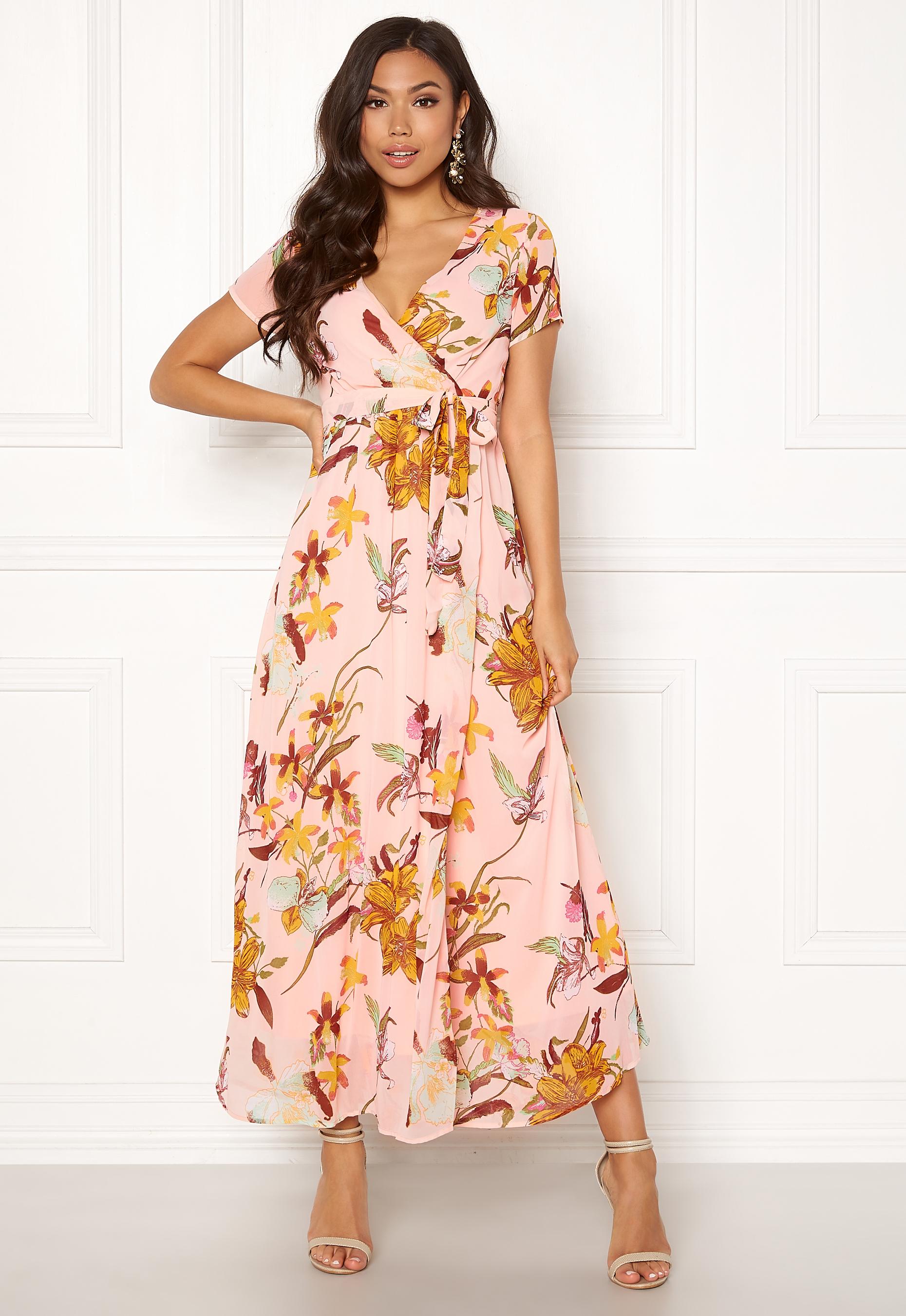 vero moda amsterdam s/s maxi dress sepia rose - bubbleroom