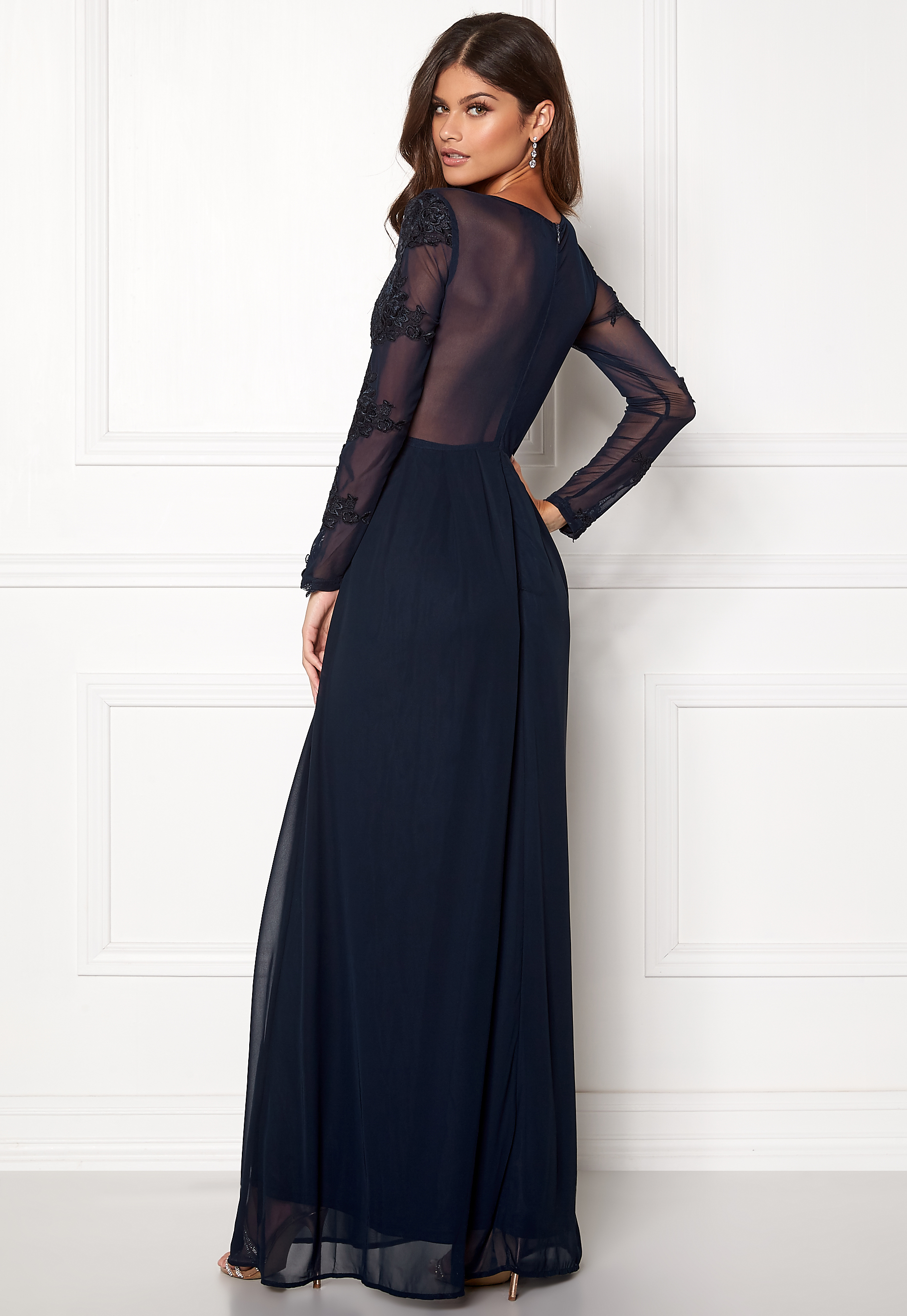 5041ca5773fa AX Paris Long Sleeve Lace Maxi Navy - Bubbleroom