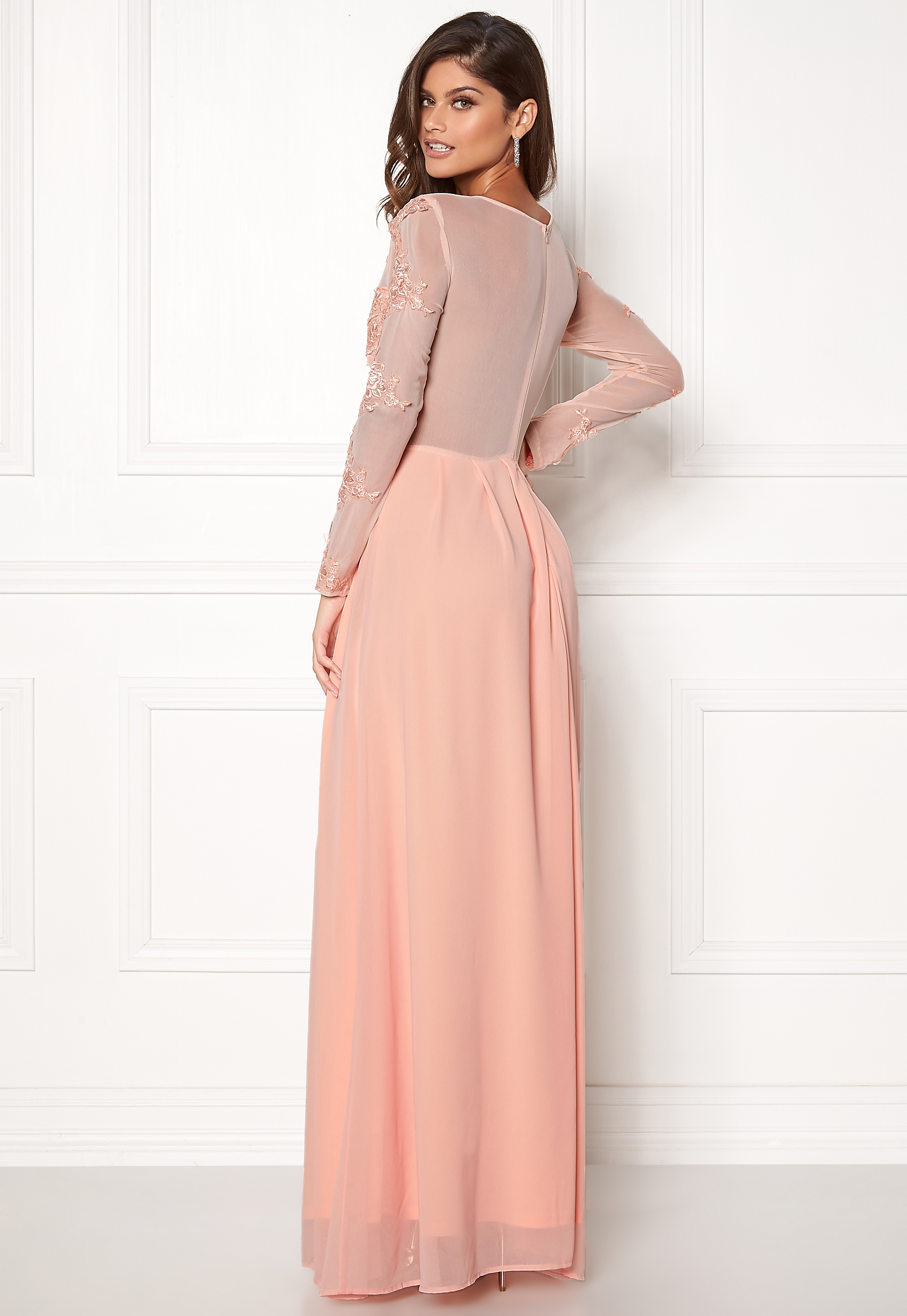 cb307b174d69 AX Paris Long Sleeve Lace Maxi Nude - Bubbleroom