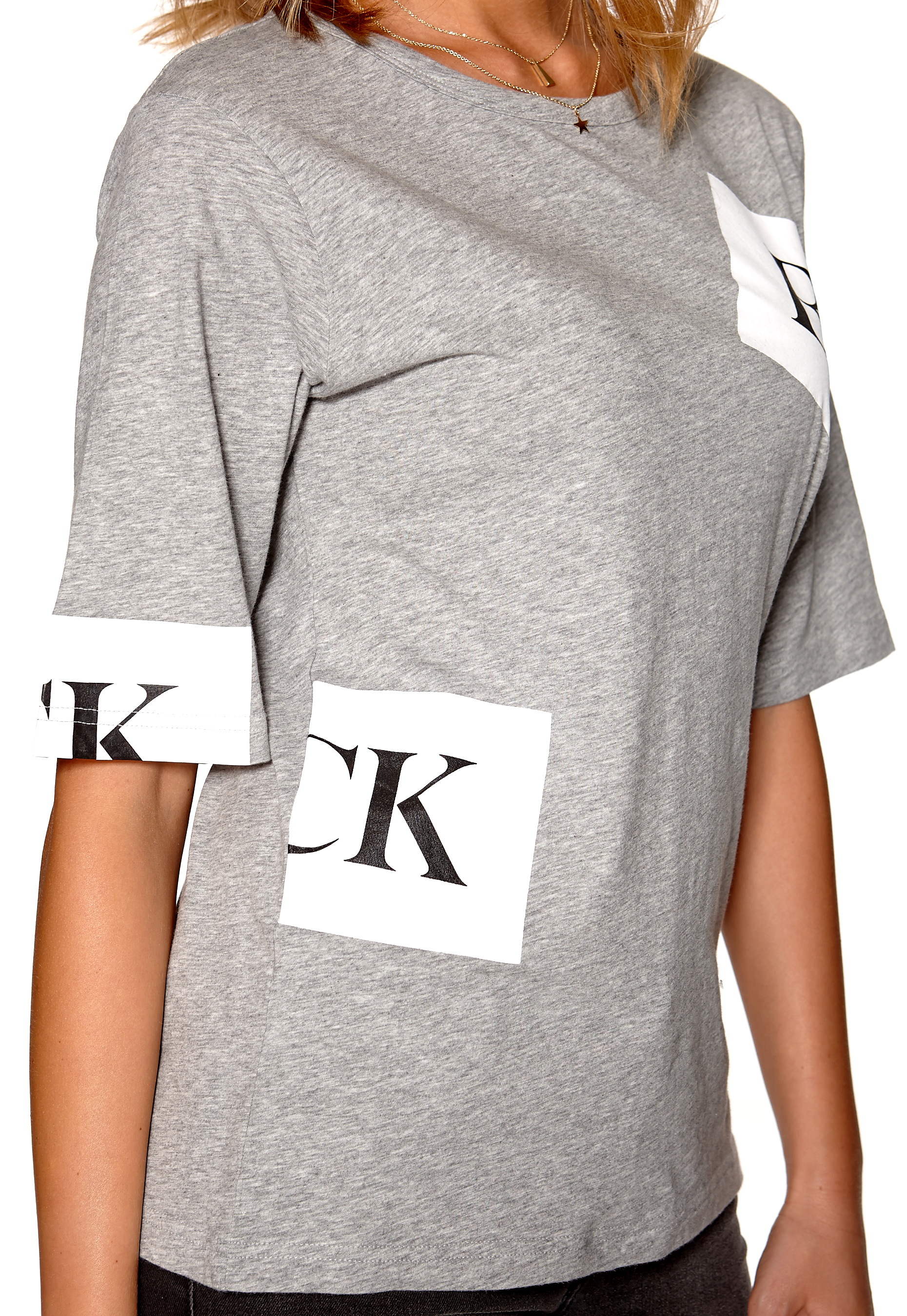 Back banner t shirt grey marl bubbleroom for Grey marl t shirt
