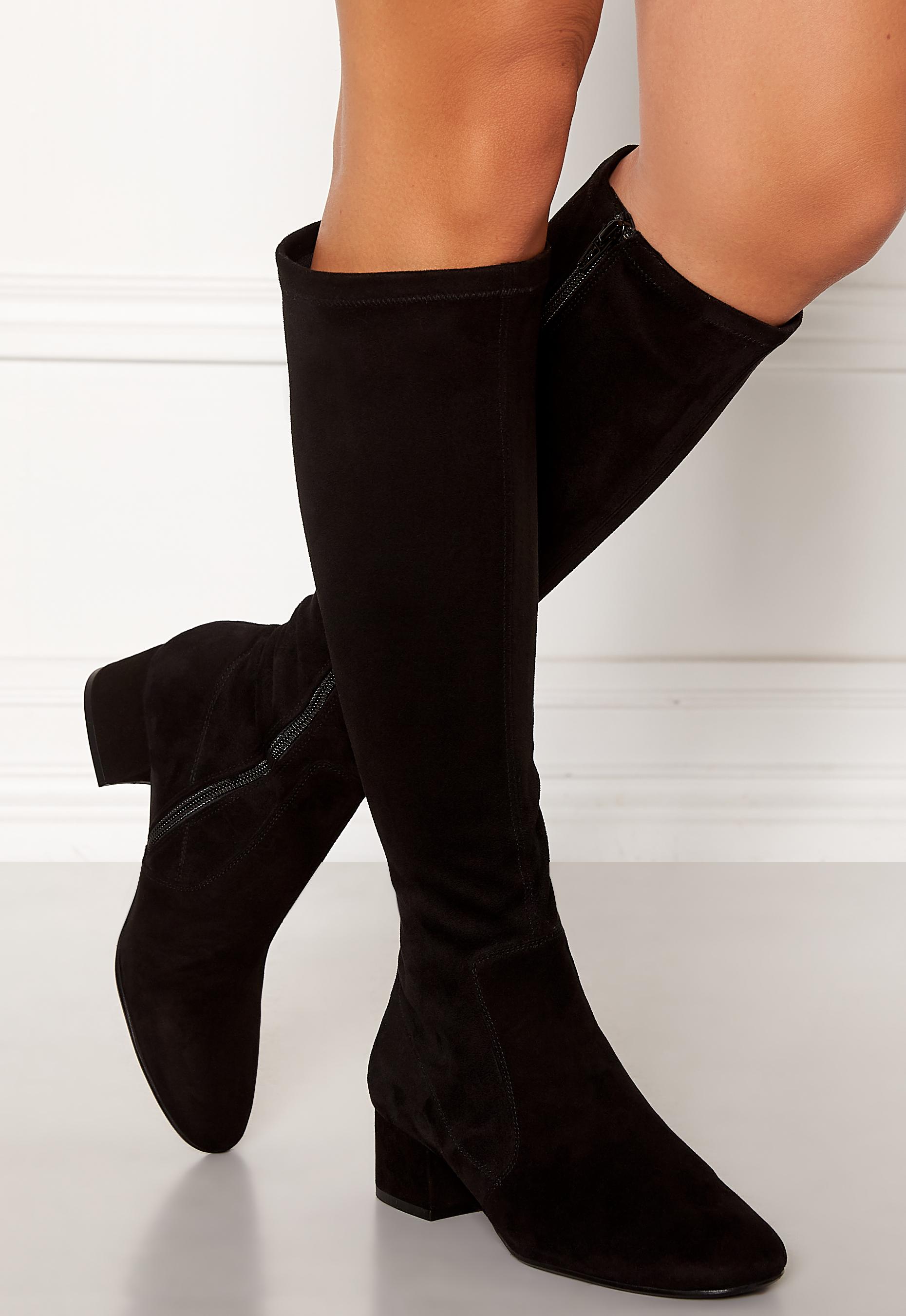Bi Bi Billi Black Black Stretch Bubbleroom Boots Suede Long Hrcrvdq