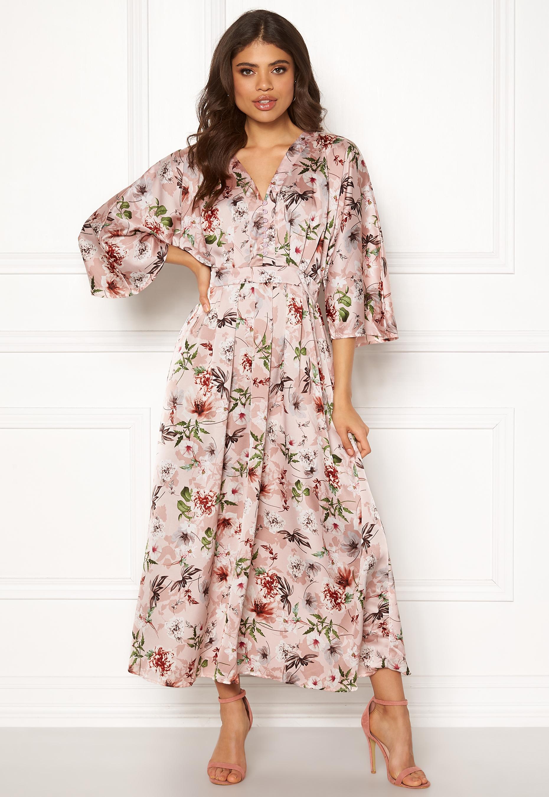 Blue Vanilla Floral Kimono Midi Dress Pink Bubbleroom