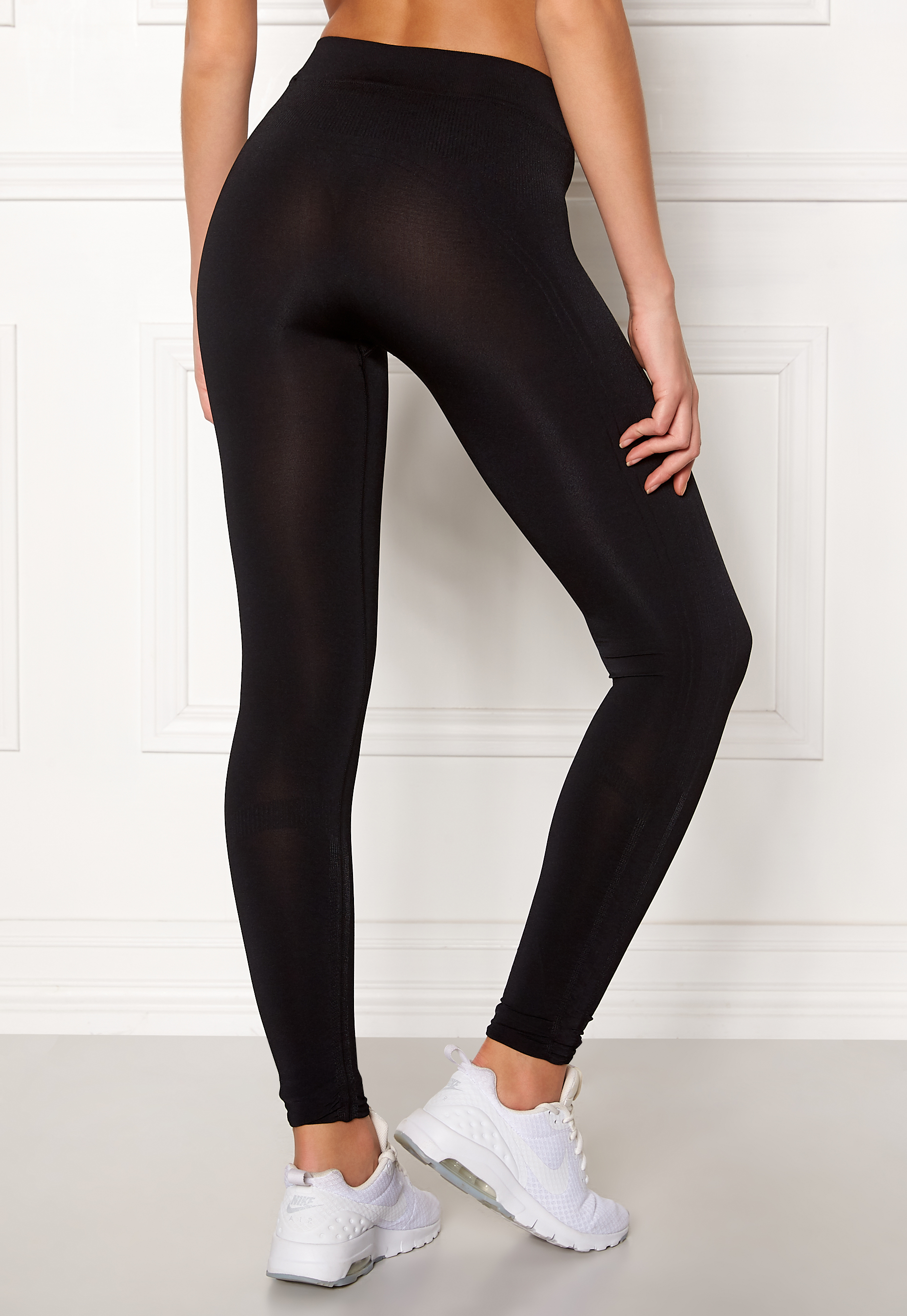 Black Ribbed Seamless Tights 78