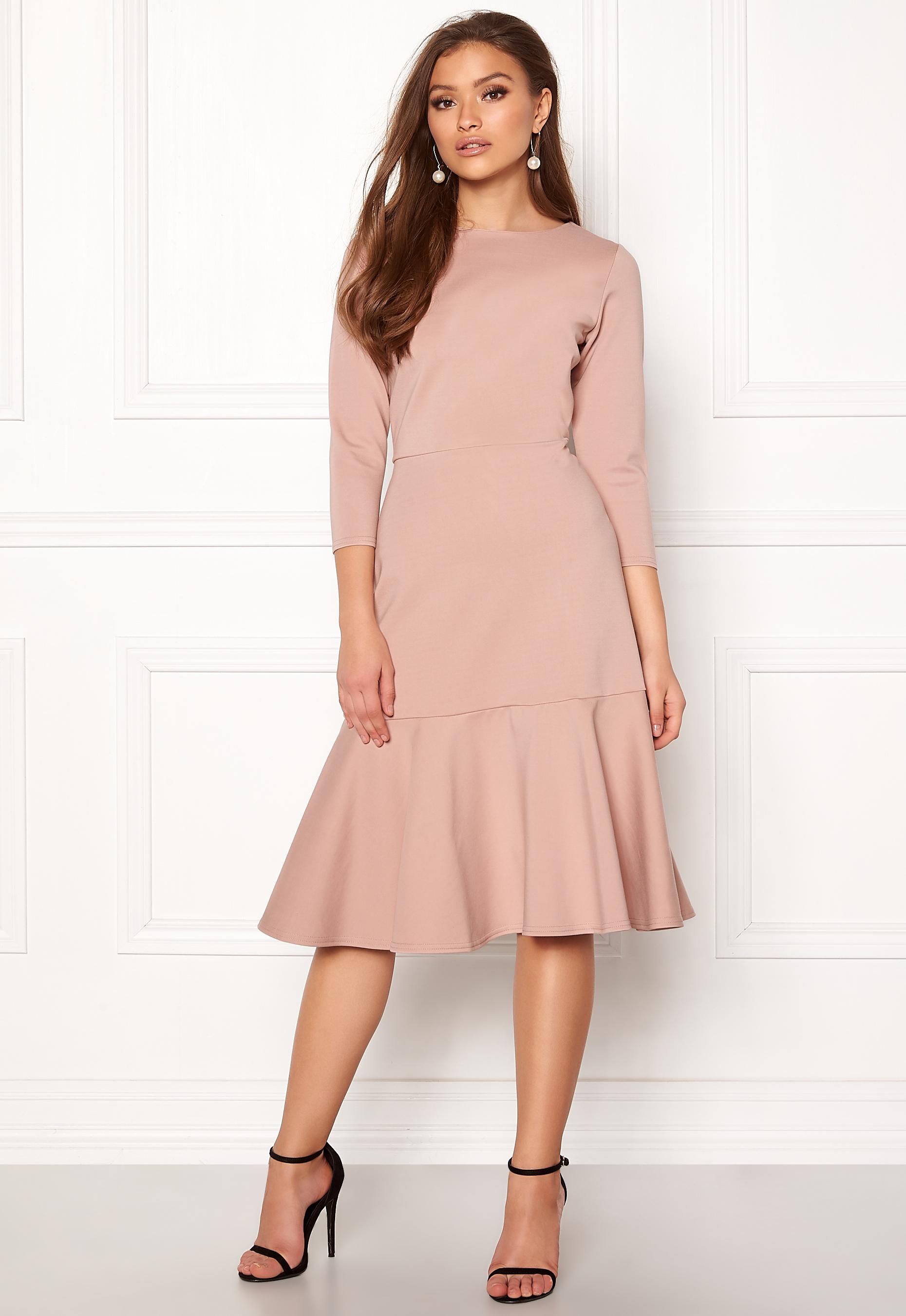 Closet London Long Sleeve Peplum Dress Nude Bubbleroom