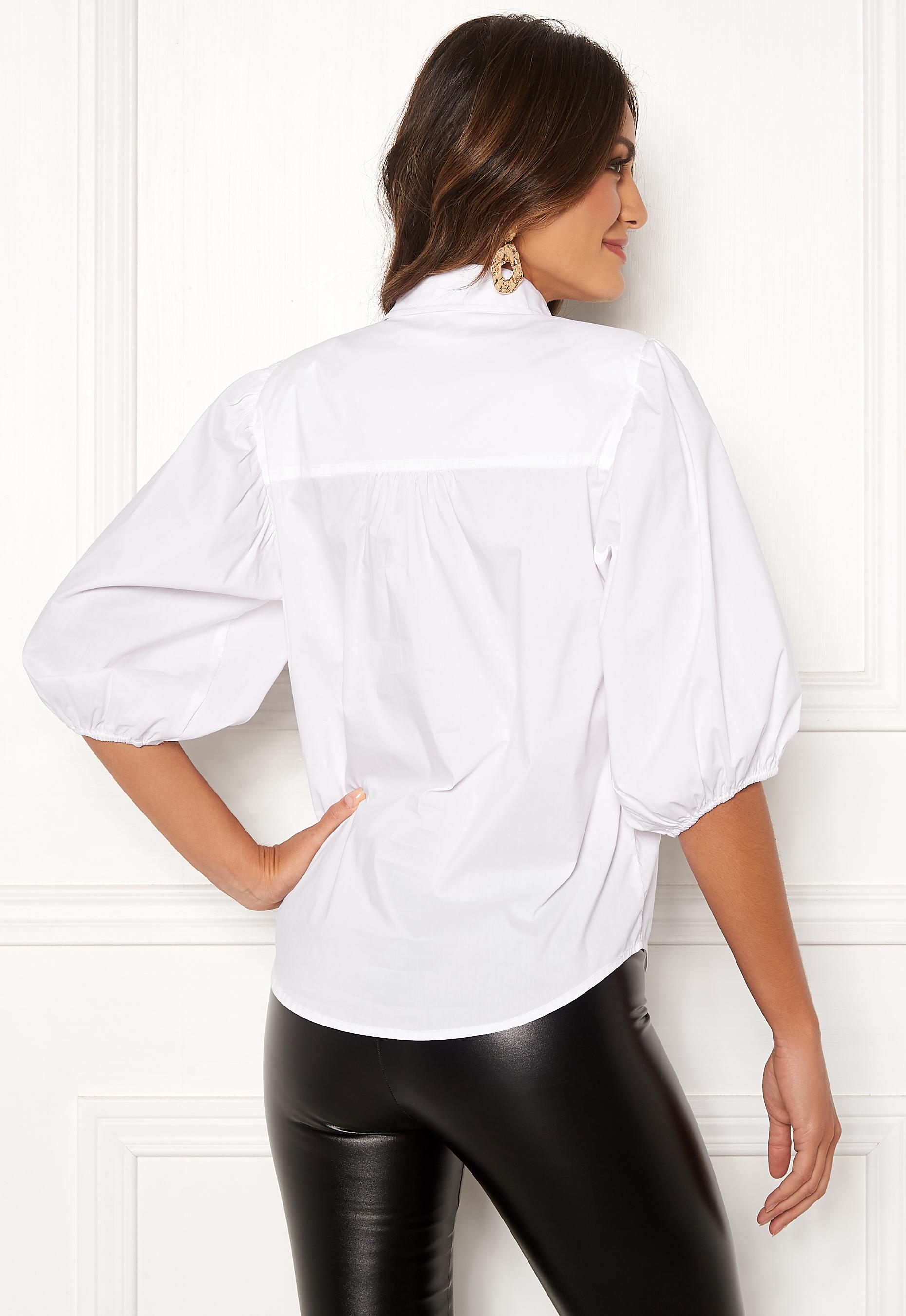Hvit bluse Cocouture, bluse med skulderputer og puffarmer