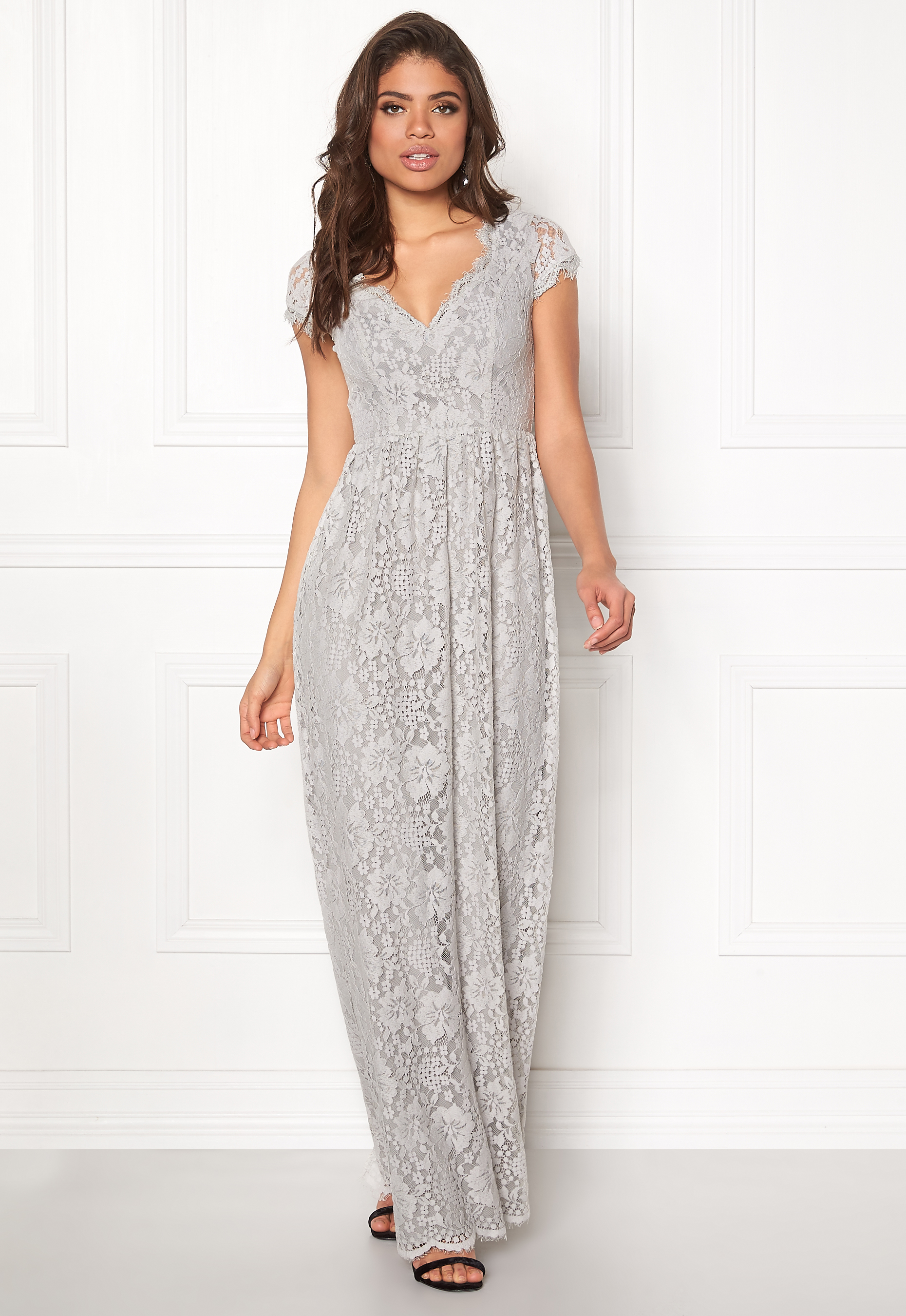 8318ae1bf560 DRY LAKE Summer Date Long Dress Grey Lace - Bubbleroom