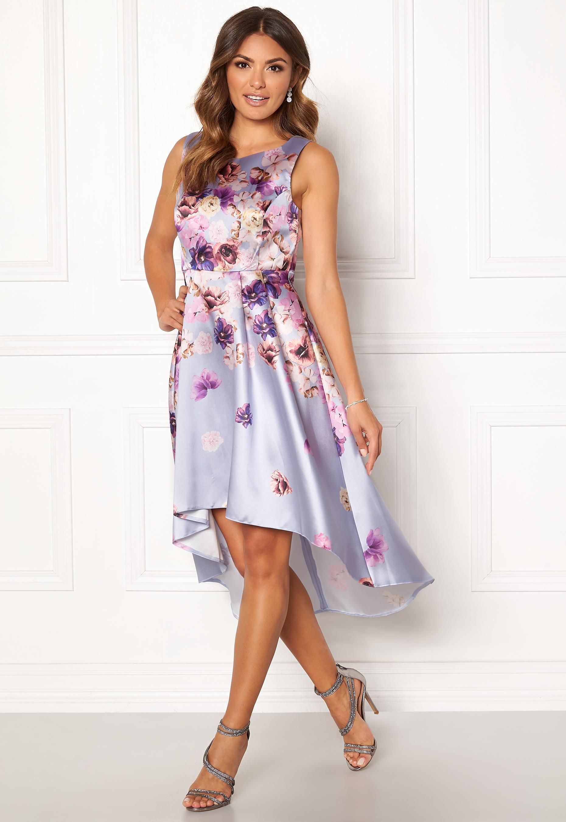 Sleeveless High Low Dress Pink Satin Print XL (UK16)