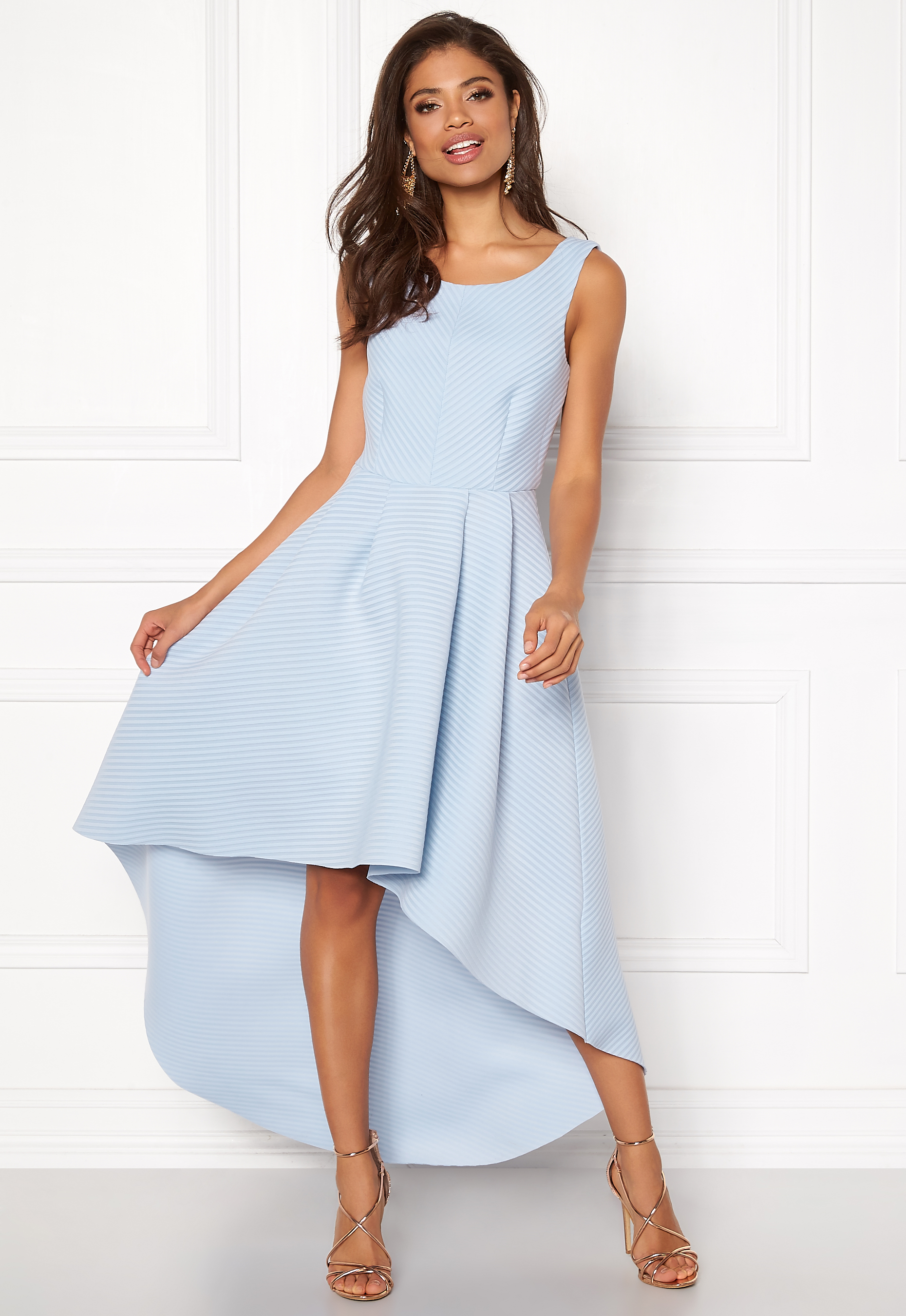 Light Goddiva Bubbleroom Dress Sleeveless Blue Low High nIq6Ip