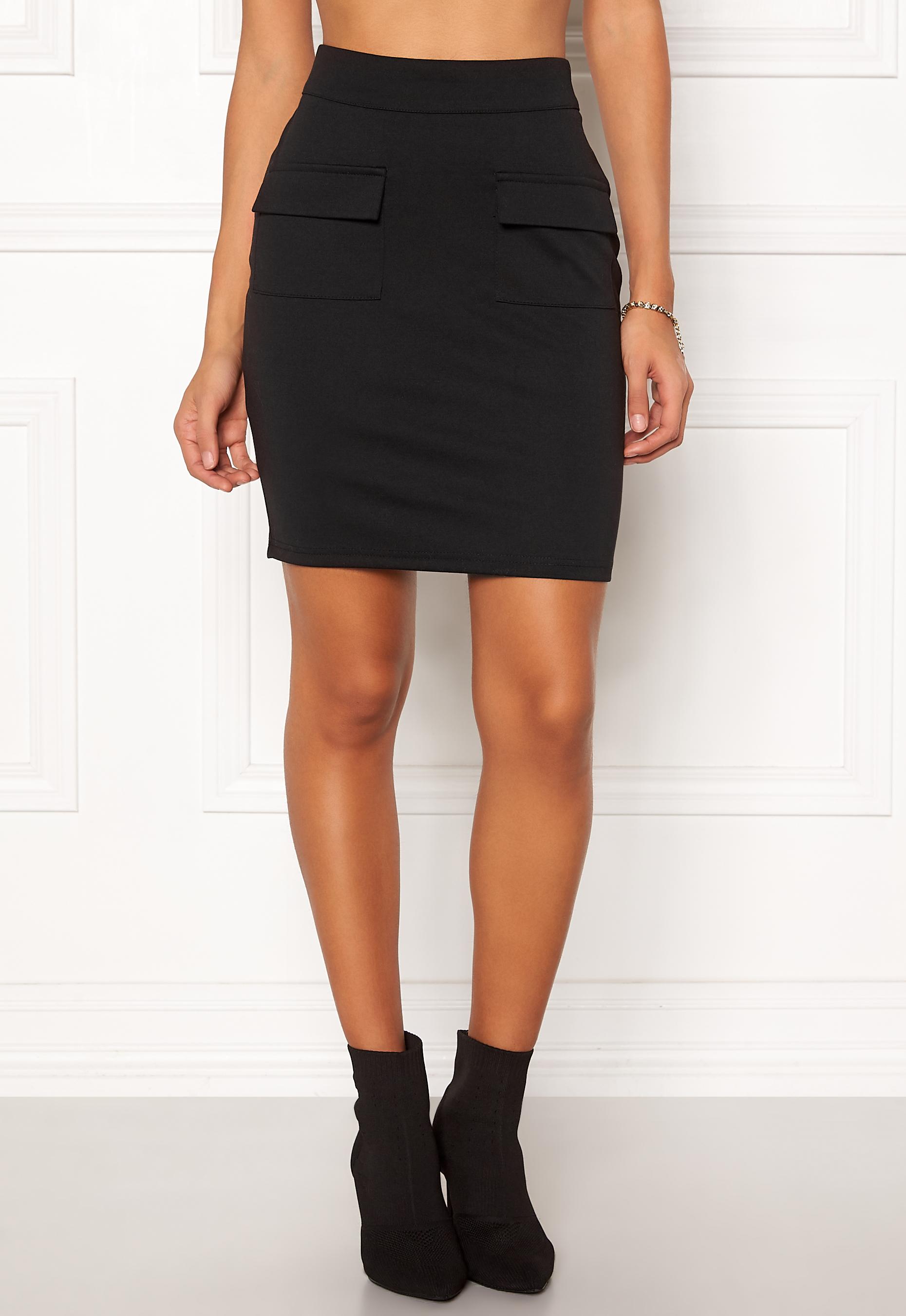 2012997c ICHI Kate Pocket Skirt Black - Bubbleroom
