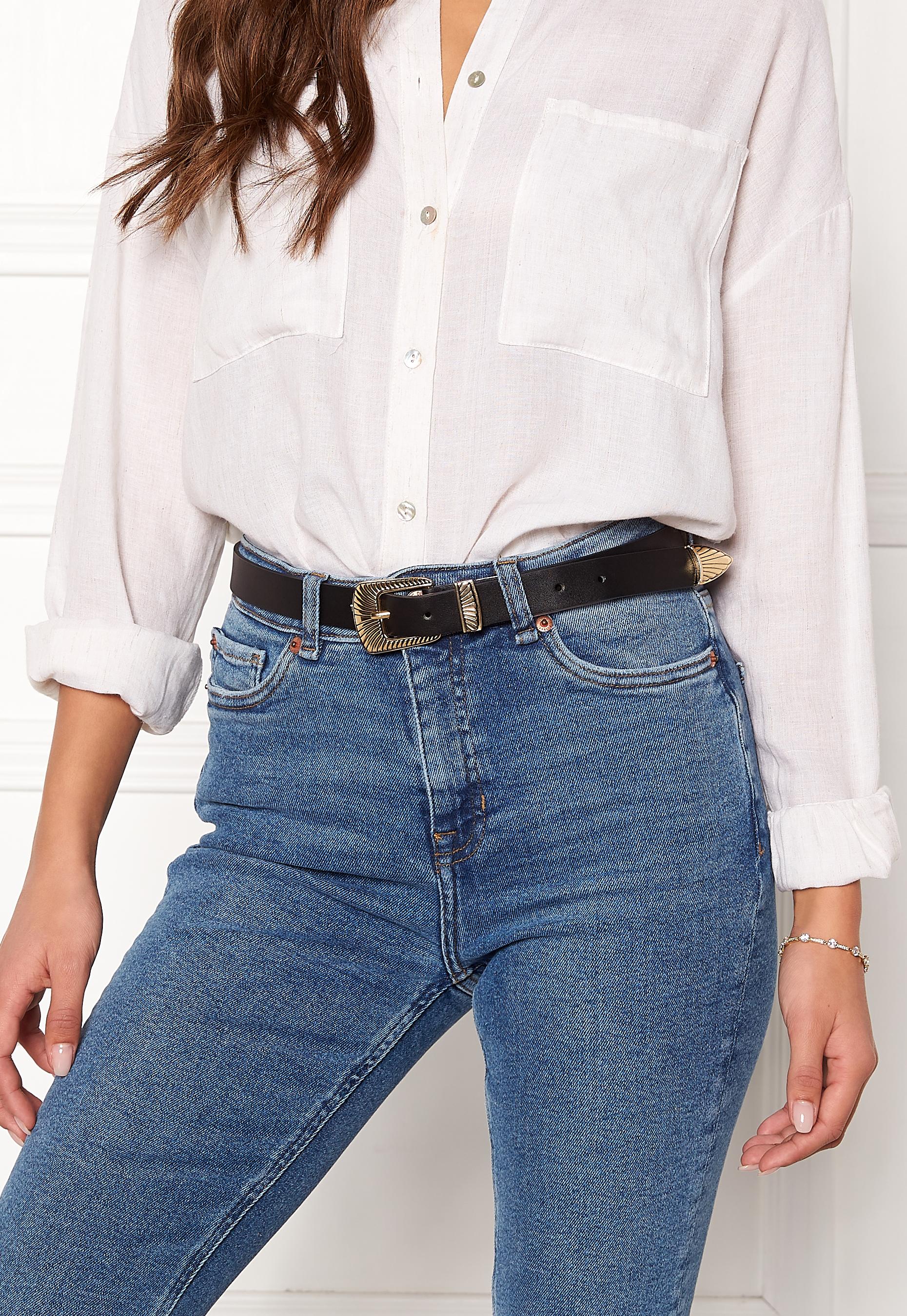 Pieces Janey Jeans Belt BlackGold Bubbleroom
