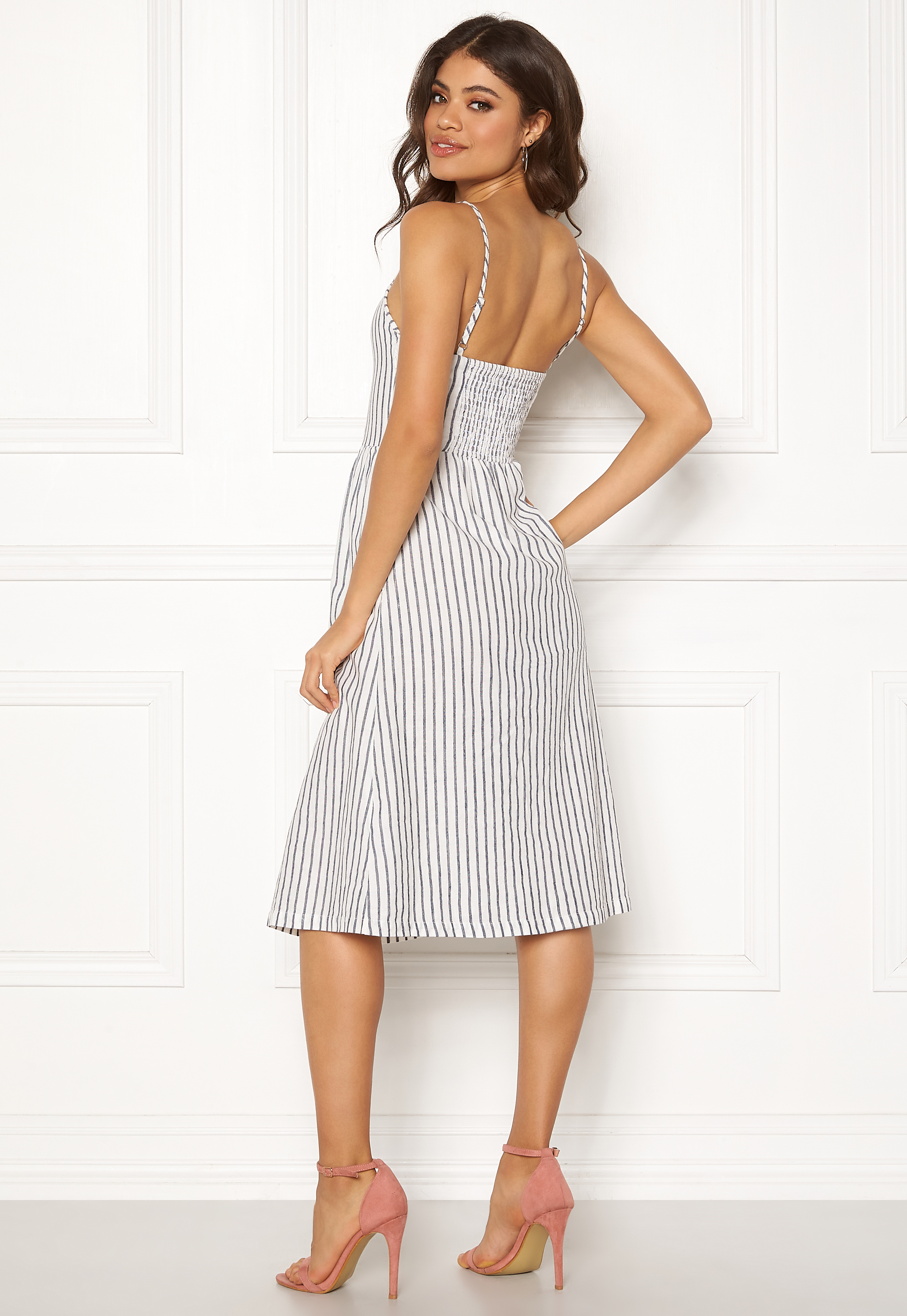 ec901112 ONLY Luna Strap Stripe Dress Cloud Dancer/Stripes - Bubbleroom