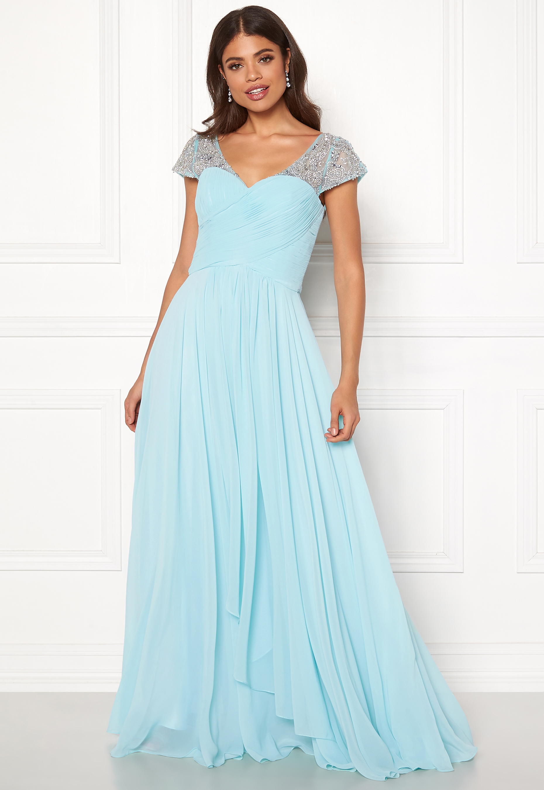 SUSANNA RIVIERI Sweetheart Chiffon Dress Navy Bubbleroom