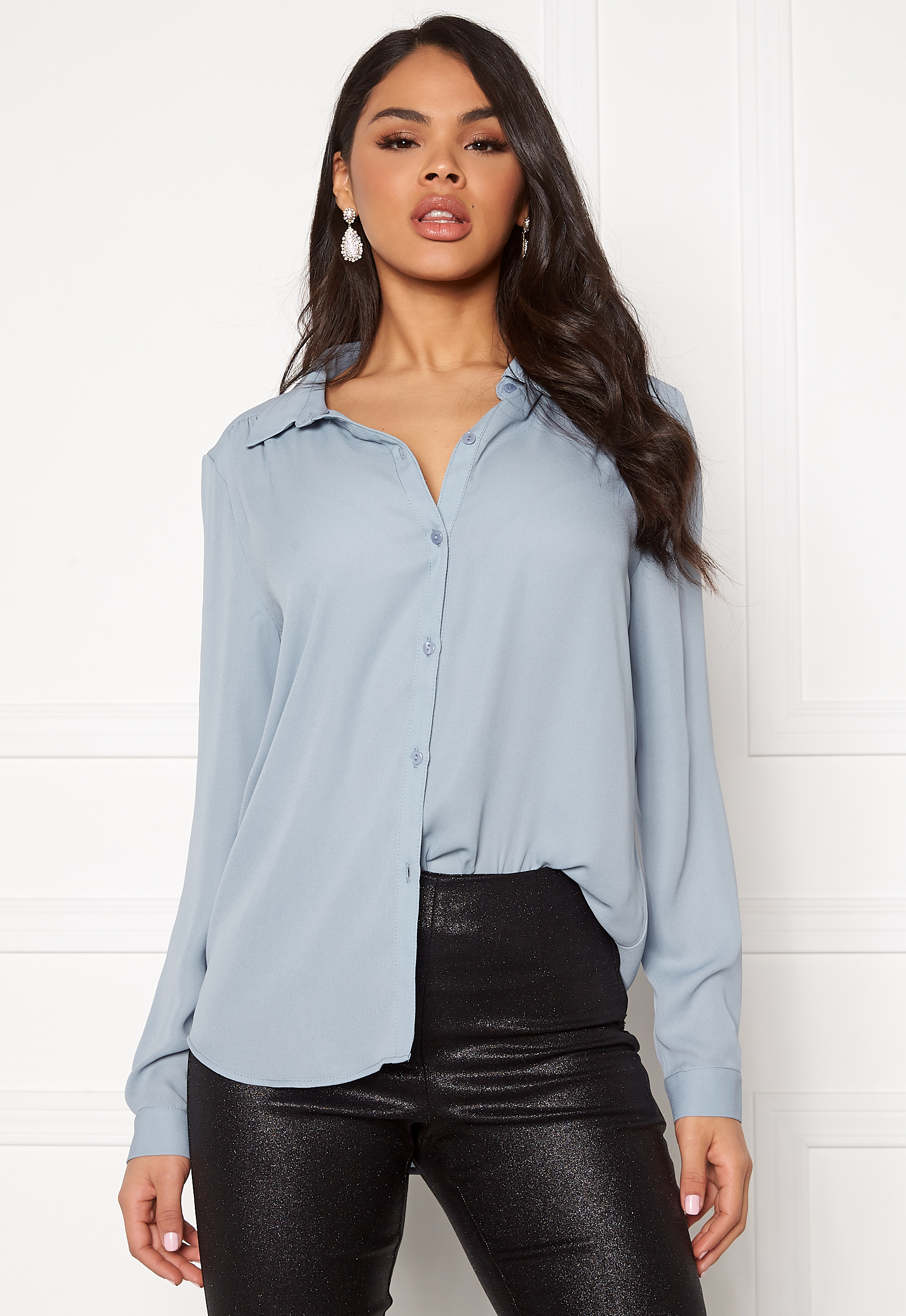 VILA Lucy LS Shirt Ashley Blue Bubbleroom