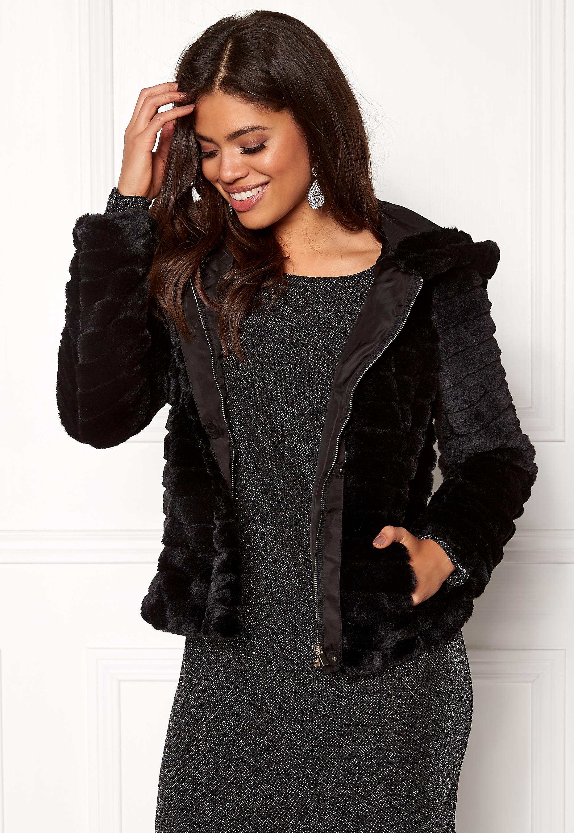 8e0911c3 VILA Maya Faux Fur Jacket Black - Bubbleroom