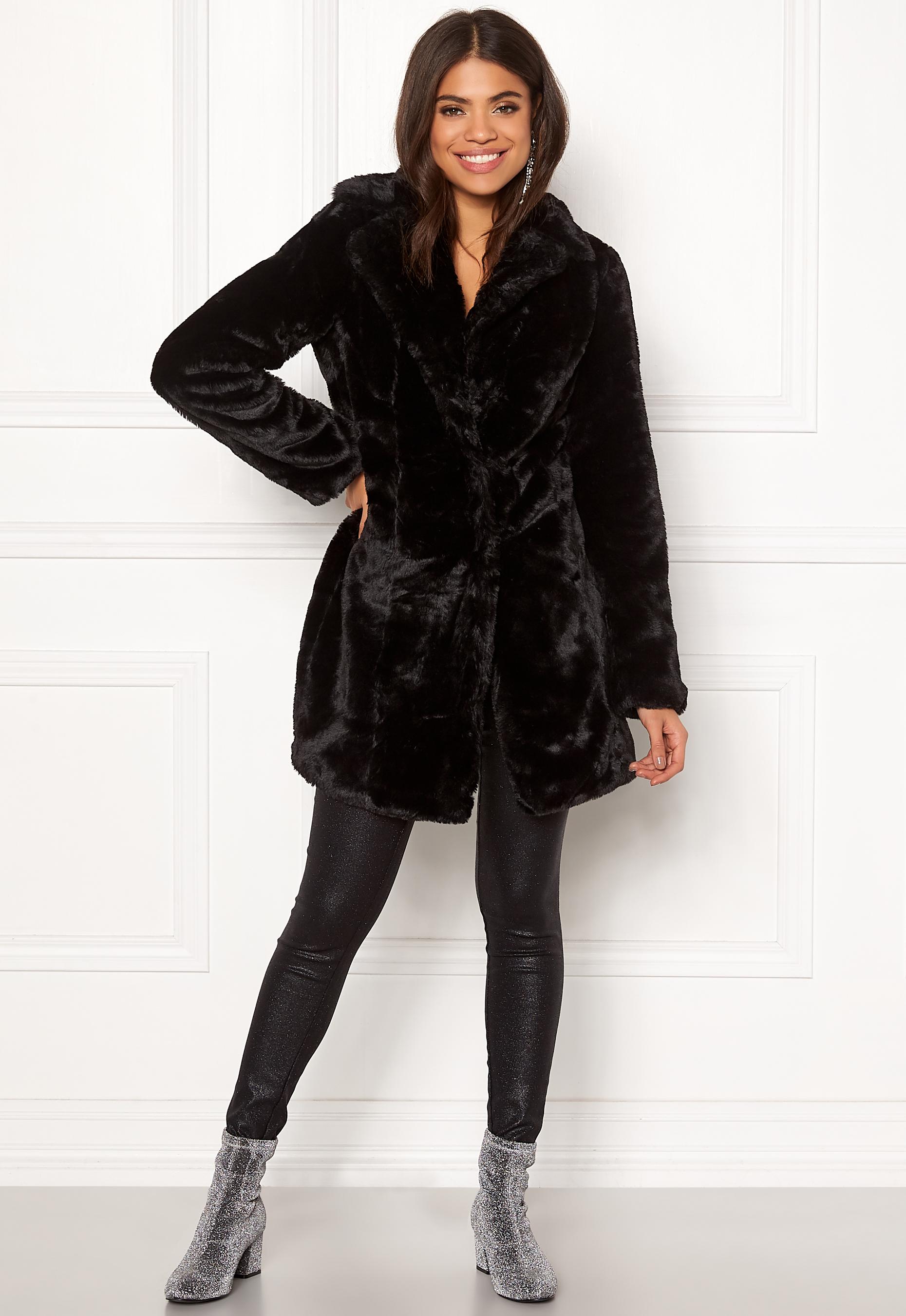 c44c393d VILA Softa Faux Fur Coat Black - Bubbleroom